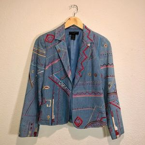 Vintage Embroidered Chambray Abstract Blazer